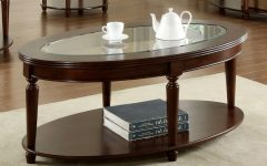 Furniture of America Crescent Dark Cherry Glass Top Oval Coffee Tables
