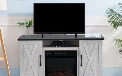 Eutropios Tv Stand with Electric Fireplace Included