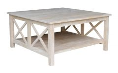 Unfinished Solid Parawood Square Coffee Tables