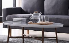 Handy Living Miami White Oval Coffee Tables with Brown Metal Legs
