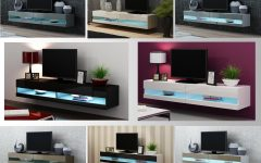 57'' Tv Stands with Led Lights Modern Entertainment Center