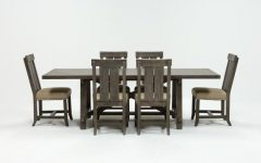 Jaxon Grey 7 Piece Rectangle Extension Dining Sets With Wood Chairs