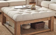 Lennon Pine Square Storage Ottoman Coffee Tables