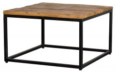 Paris Natural Wood And Iron 30-Inch Square Coffee Tables