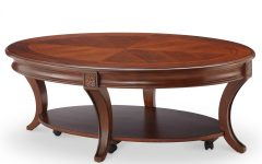 Winslet Cherry Finish Wood Oval Coffee Tables with Casters