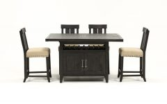 Jaxon Grey 5 Piece Extension Counter Sets with Wood Stools
