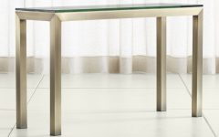 Parsons Walnut Top & Brass Base 48x16 Console Tables