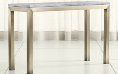 Parsons White Marble Top & Brass Base 48x16 Console Tables