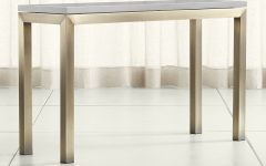 Parsons Grey Solid Surface Top & Stainless Steel Base 48X16 Console Tables