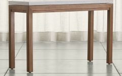 Parsons Travertine Top & Elm Base 48x16 Console Tables