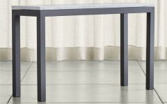 Parsons White Marble Top & Dark Steel Base 48x16 Console Tables