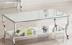 Contemporary Chrome Glass Top and Mirror Shelf Coffee Tables