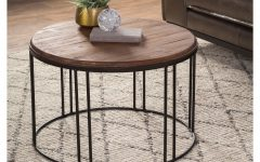 Burnham Reclaimed Wood and Iron Round Coffee Tables