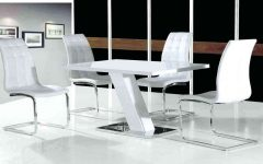 White High Gloss Dining Tables and 4 Chairs