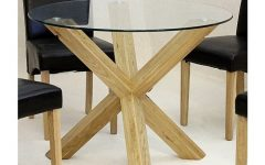 Round Glass Dining Tables with Oak Legs