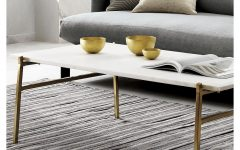 Slab Large Marble Coffee Tables With Brass Base