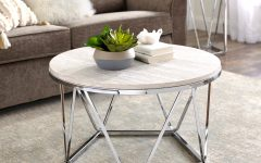 Silver Orchid Henderson Faux Stone Silvertone Round Coffee Tables