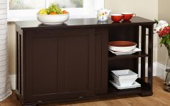 Contemporary Style Wooden Buffets With Two Side Door Storage Cabinets