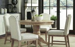 Laurent 5 Piece Round Dining Sets with Wood Chairs