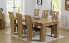 Chunky Solid Oak Dining Tables and 6 Chairs