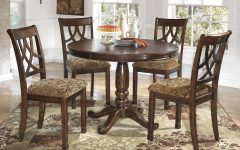 Craftsman 5 Piece Round Dining Sets With Uph Side Chairs