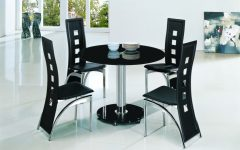 Round Black Glass Dining Tables And 4 Chairs