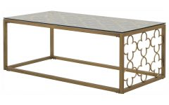 The Curated Nomad Quatrefoil Goldtone Metal and Glass Coffee Tables