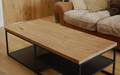 Iron Wood Coffee Tables with Wheels